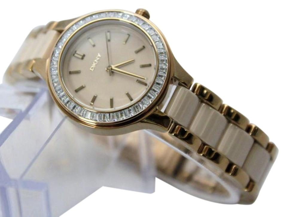 8e79cf29d05a6 DKNY New DKNY NY2467 Chambers Crystal Dial Beige StainlessSteel Woman Watch  Image 0 ...