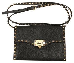Valentino Rockstud Crossbody Clutch Pebbled Leather Shoulder Bag