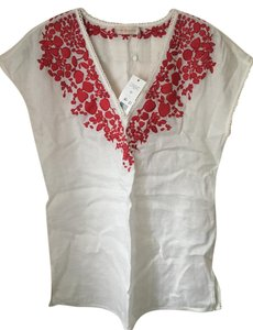 Tory Burch Tory Burch White Linen Cover Up with Red Embroidery