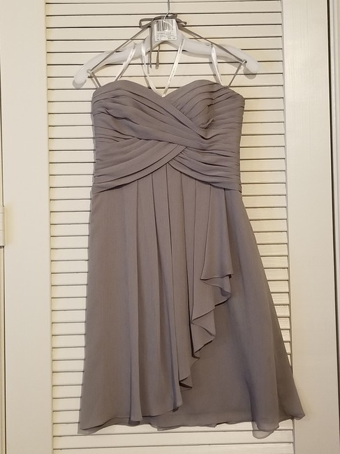 Item - Silver / Gray Polyester F14847 Formal Bridesmaid/Mob Dress Size 2 (XS)