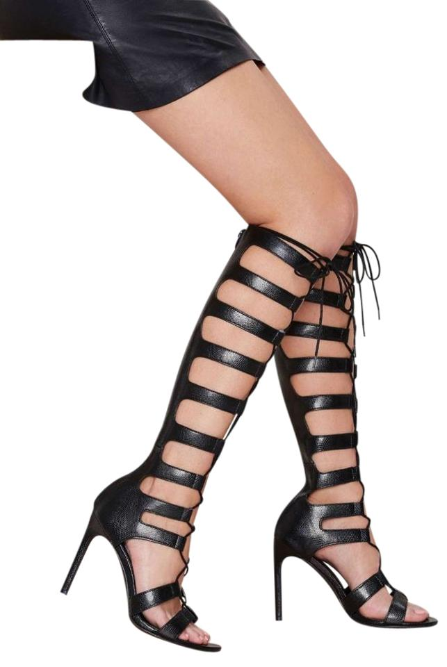 Nasty Gal Black Gladiator Fighter Gladiator Black Sandals Boots/Booties 524bc7