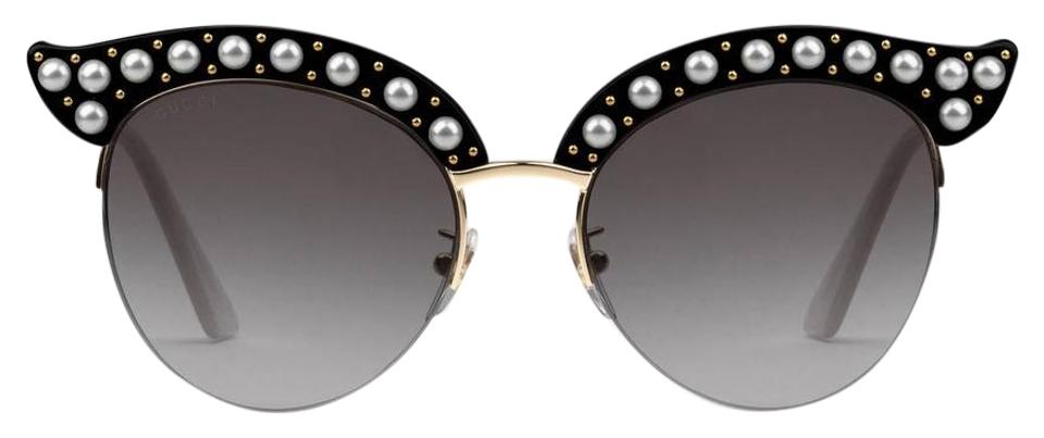 72949ff5514 Gucci Black Gold Cat Eye Acetate with Pearls 491440 Sunglasses - Tradesy