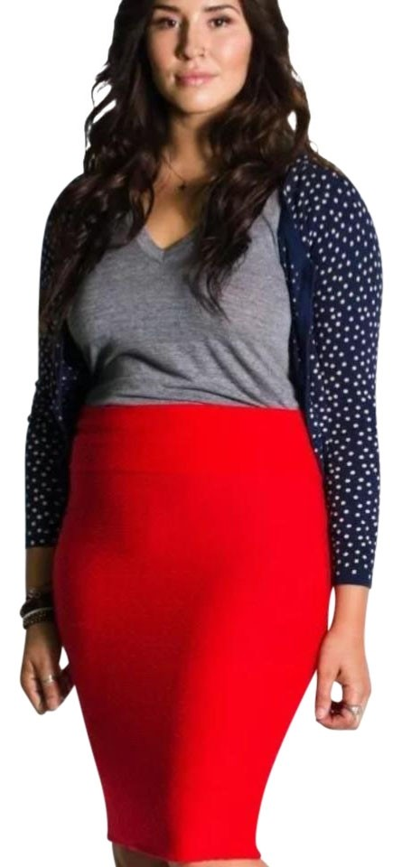 0468ade12 LuLaRoe Solid Red Cassie Textured Pencil Skirt Size 0 (XS, 25) - Tradesy