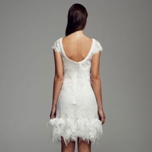David 39 s bridal short lace dress with feather trim detail for Feather wedding dress davids bridal