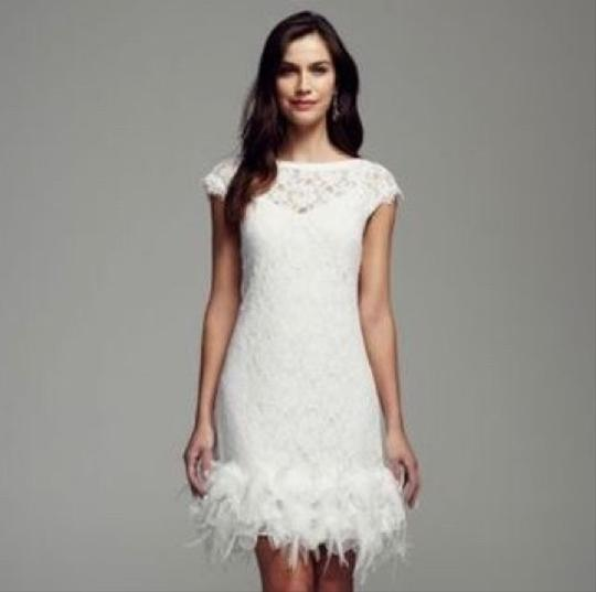 David 39 s bridal white short lace with feather trim detail for Feather wedding dress davids bridal