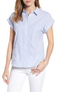 Vineyard Vines Dolman Sleeves Popover Stripes Striped Top Blue and white