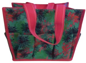 Lilly Pulitzer Bright beachy print - turquoise, navy, pink and green with hot pink straps and trim Beach Bag
