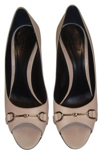 Gucci Leather Silver Hardware Tan Pumps
