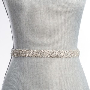 BHLDN Ivory Silver and Pearl Nestina Snowfall Fitted Belt (S) Sash
