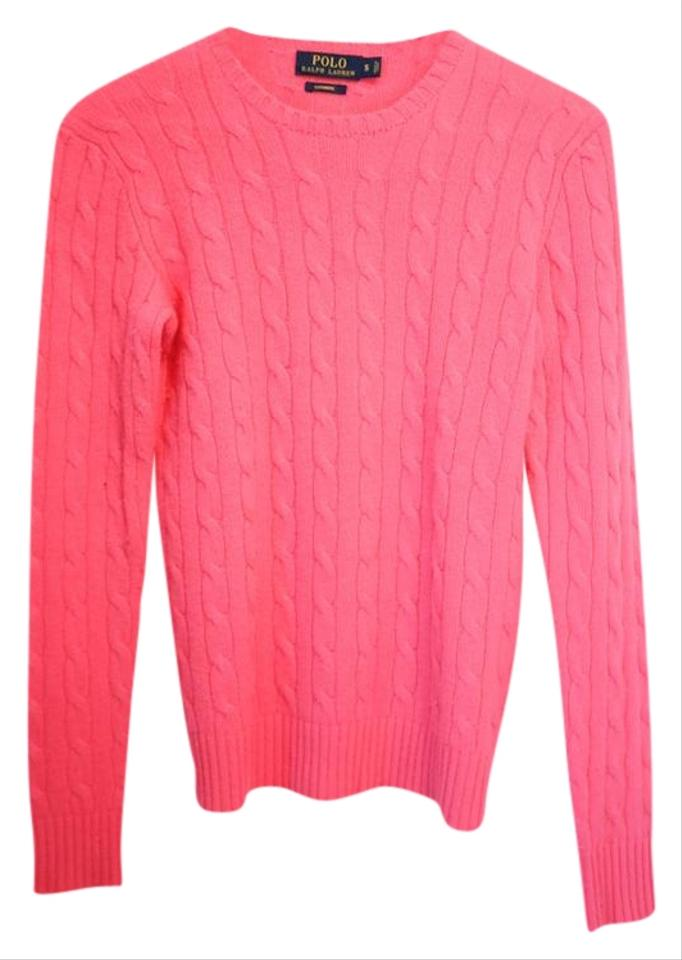 89c36107aab Polo Ralph Lauren Cable-knit Cashmere Bright Pink Sweater - Tradesy
