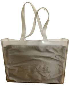 2fd5ec4ccef5 Chanel Timeless Logo Jelly Rubber Clear with Inner Pouch Grey Vinyl Tote