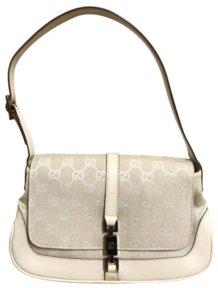 7e52aec6df4 Gucci Jackie Monogram Off White Beige Canvas and Leather Shoulder ...