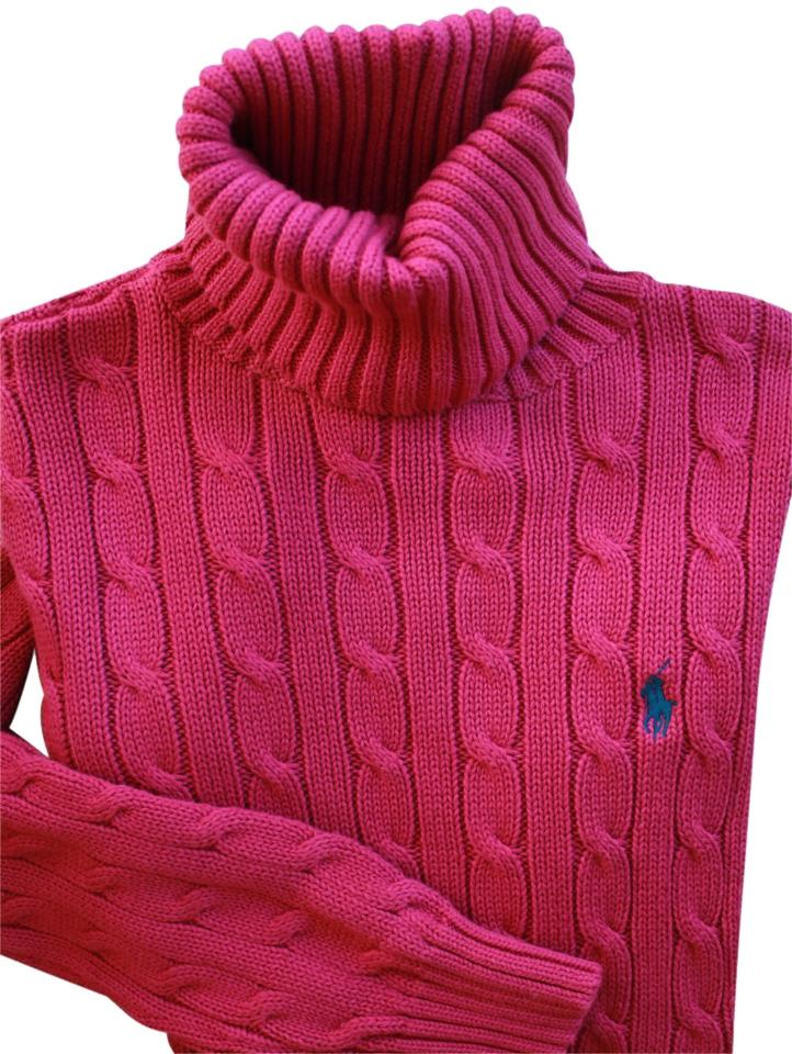 2649b22592688c Ralph Lauren Sport Cotton Cable Knit Turtleneck Holiday Pink Sweater ...