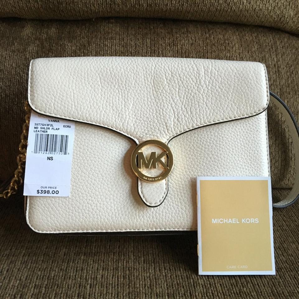 c9d4b38a694e Michael Kors Vanna Md Shoulder Flap Ivory Leather Cross Body Bag - Tradesy