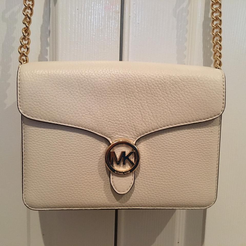 b5a927db7541 Michael Kors Vanna Md Shoulder Flap Ivory Leather Cross Body Bag ...