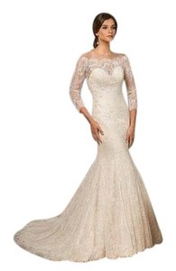 Jasmine Couture Bridal Ivory Over Light Gold Lace Chiffon T182010 Formal Wedding Dress Size 14 (L)