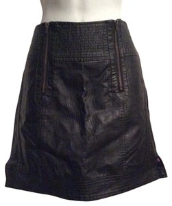 Tulle Zippers Faux Leather Mini Vegan Moto Mini Skirt Black