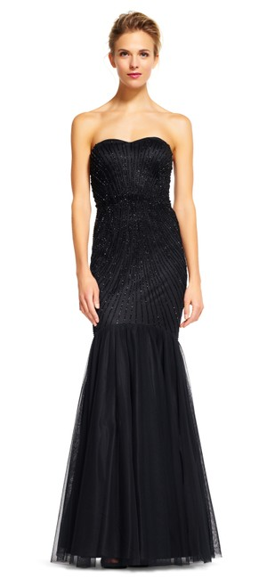 Preload https://img-static.tradesy.com/item/22231554/adrianna-papell-black-strapless-beaded-mermaid-gown-with-tulle-skirt-long-formal-dress-size-14-l-0-0-650-650.jpg