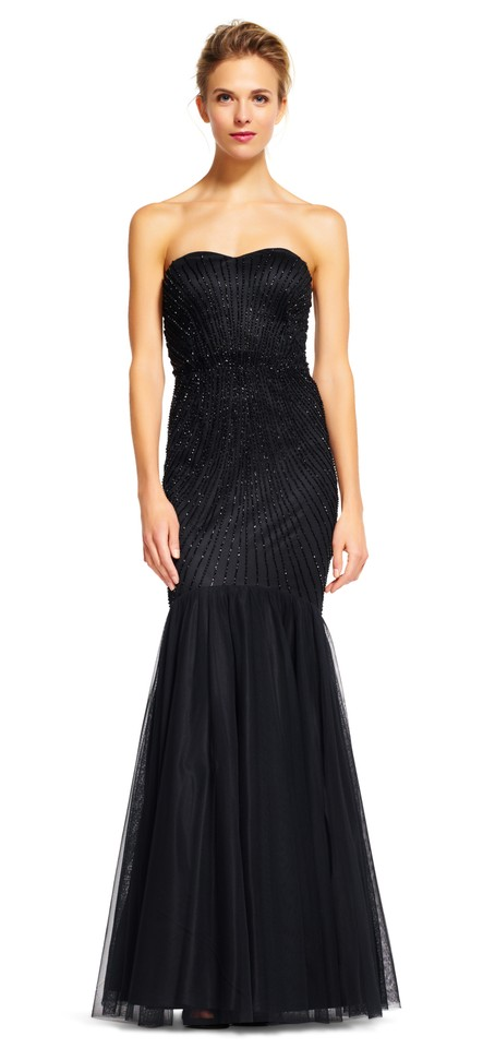 2baf969a2e18 Adrianna Papell Black Strapless Beaded Mermaid Gown with Tulle Skirt Formal  Dress