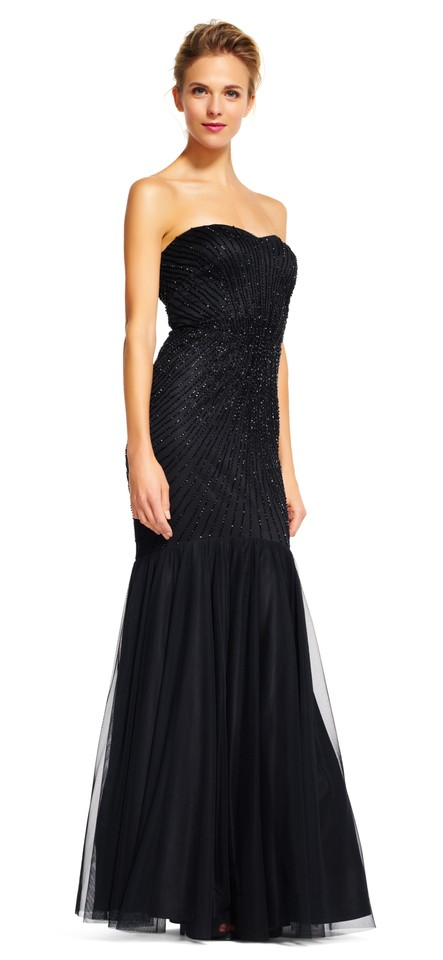 Adrianna Papell Black Strapless Beaded Mermaid Gown with Tulle Skirt ...