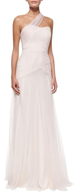 Item - Blush One-shoulder Draped Tulle Gown Long Formal Dress Size 10 (M)