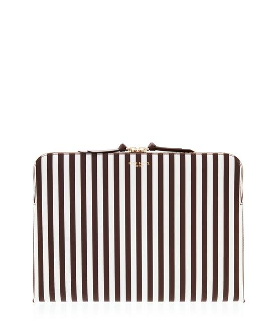 Item - Centennial Chocolate Brown White Stripe Printed Saffiano Leather Laptop Bag