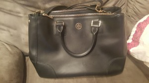 Tory Burch Double Zipper Leather Luxe Tote Shoulder Strap Satchel in Black