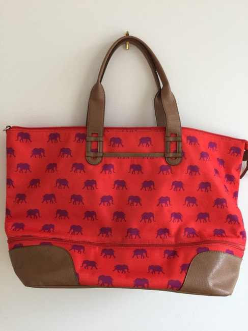 Item - Elephant Getaway Expandable Reddish Orange/Multi Color Woven Fabric Exterior/ Spill Resistant Interior Lining Weekend/Travel Bag