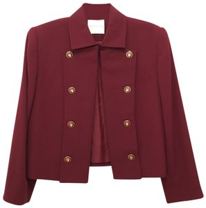 Doncaster Vintage Wool Jacket Classic Military Red Wine Gold Blazer