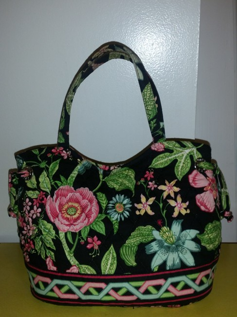 Item - Multicolor Black with Floral Print (Pink/Green/Yellow) Cotton Baguette