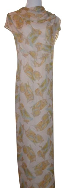 Item - Beige Fab Silk In Earthy Tone 100%silk Fabric Lined Long Night Out Dress Size 10 (M)