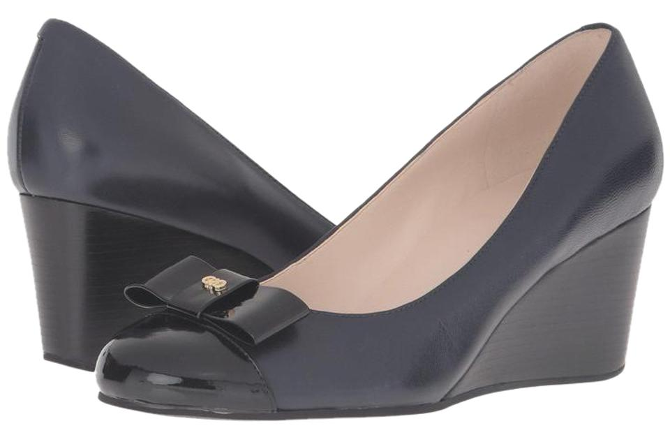 abf182b1772be Cole Haan Black and Blue 50% Off New In Box Elsie Bow 65 Mm 5.5m Wedges