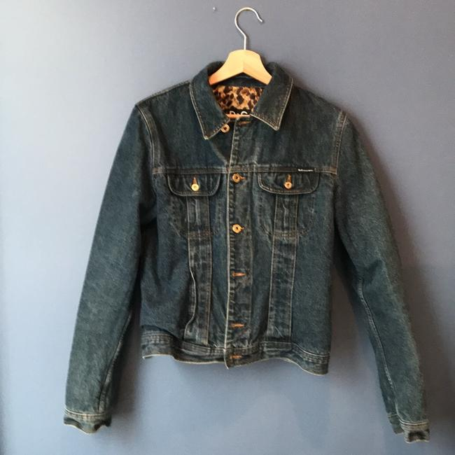 Item - Blue Denim with Gold and Leopard Print Ittierre S.p.a Jacket Size 12 (L)