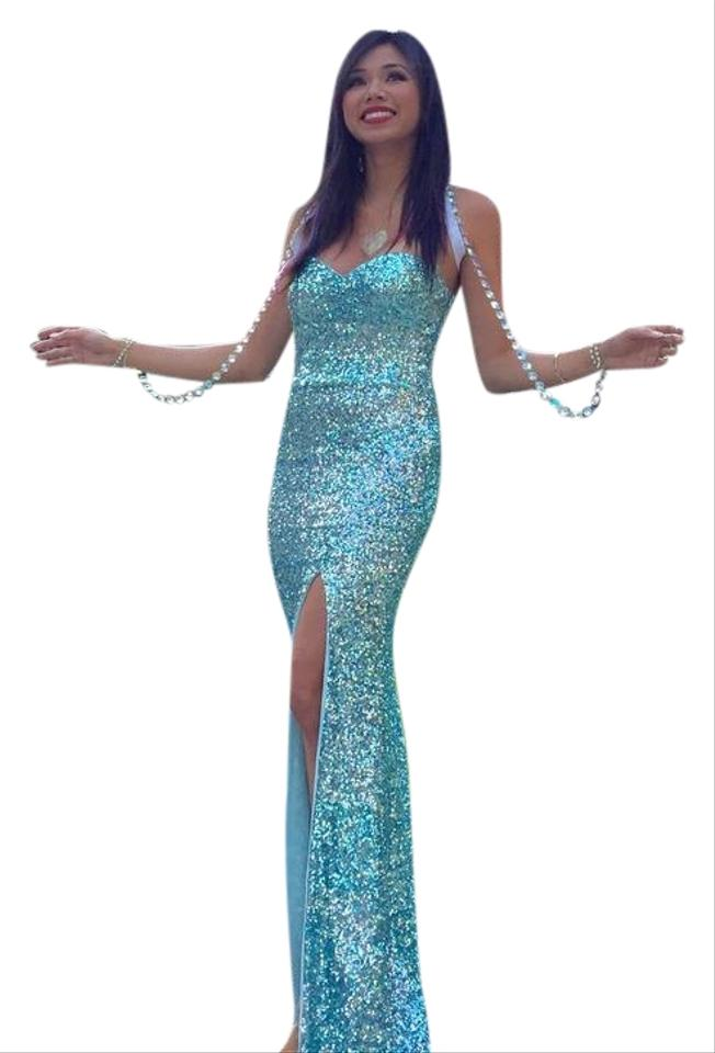 Neiman Marcus Turquoise Sequence Gown From Long Formal Dress Size 4 ...