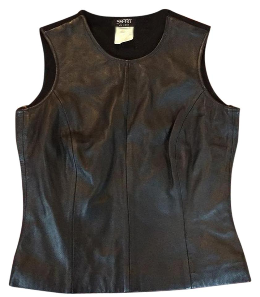 174aa8a3a80ace Esprit Black Fitted Leather Tank Top Cami Size 4 (S) - Tradesy