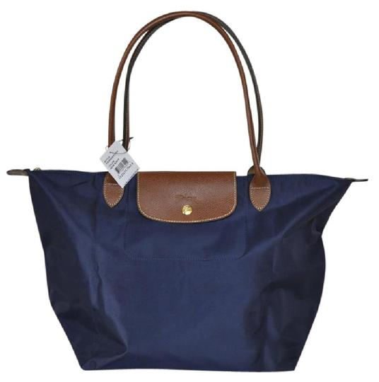 longchamp le pliage shopping large in lc package navy blue. Black Bedroom Furniture Sets. Home Design Ideas