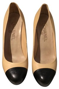 Chanel beige with black toe Platforms