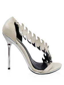 Brian Atwood Heels Cut Out Heels Grey Leather Cream Pumps