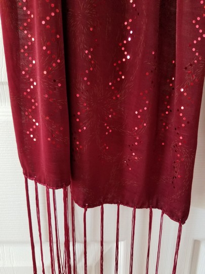 unknown Burgundy heavy stretchy polyester scarf with metallic sparkle, 68 x 18 Image 1