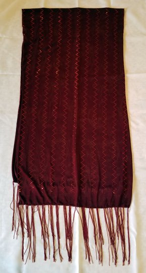 unknown Burgundy heavy stretchy polyester scarf with metallic sparkle, 68 x 18 Image 4