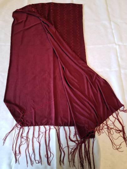 unknown Burgundy heavy stretchy polyester scarf with metallic sparkle, 68 x 18 Image 5