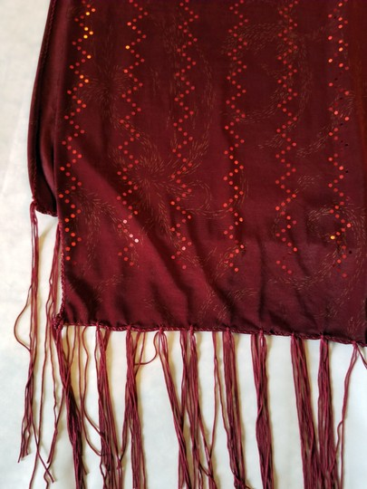 unknown Burgundy heavy stretchy polyester scarf with metallic sparkle, 68 x 18 Image 7