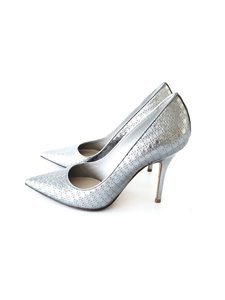 Dior Leather Chic Silver Pumps