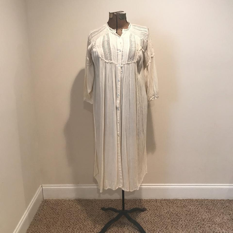 Free People Ivory Victorian Inspired Duster / Long Work/Office Dress ...