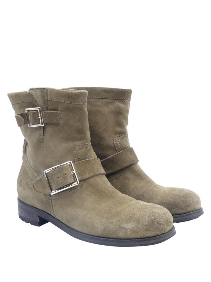 Jimmy Choo Taupe Suede Gold Buckle 39.5/9.5 39.5/9.5 39.5/9.5 Short Boots/Booties 6824a3