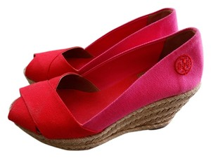 Tory Burch Espadrille Summer Sandal Filpa Red and Pink Wedges