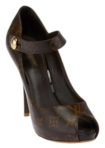 Louis Vuitton Lv Mary Janes Ritual Monogram Brown Pumps