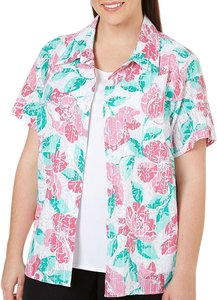 Alfred Dunner Layered Shirt Blouse 2-fer Button Down Shirt Multicolor