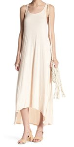 Stone Maxi Dress by Go Couture Scoop Neck Cool + Sleeveless Racerback Soft Knit Fabric High Low Hem