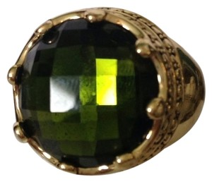 Neiman Marcus NWOT Faceted Green Crystal In Antiqued Gold-Tone Crown Design Ring, Size 7